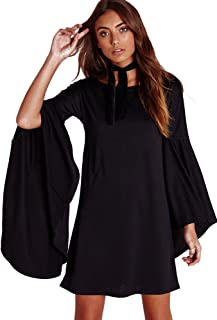Women's USA Long Flare Bell Sleeve Blouse Mini Dress