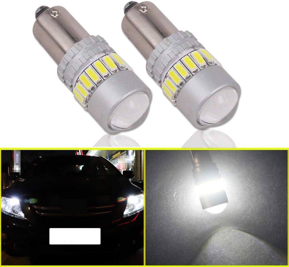 Eseastar BA9S T4W Bombillas LED 12V-24V 21LED SMD4014 Bombillas LED CANbus sin errores con proyector para luces laterales de coche, luz interior y más, blanco 6000K