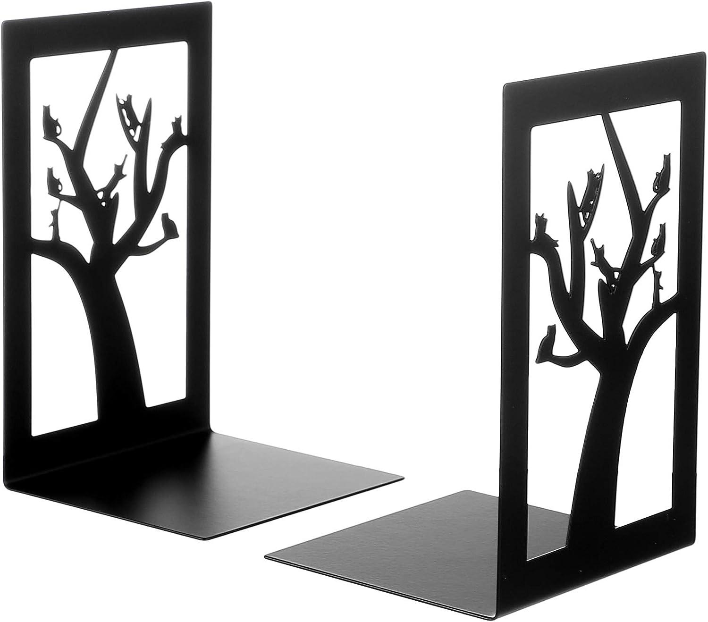 VOSAREA 2pcs Iron Bookends Decorative Non Slip Bookends Metal Ca