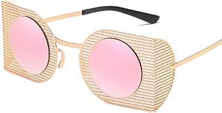 personality Colorful trend irregular metal sun glasses hollow sunglasses,Golden frame gradient tea