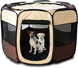 24x7 eMall Pet Playpen Tent Kennel and Carrying Case Collapsible and Outdoor Use with Water Resistant Shade Cover for Dog ...