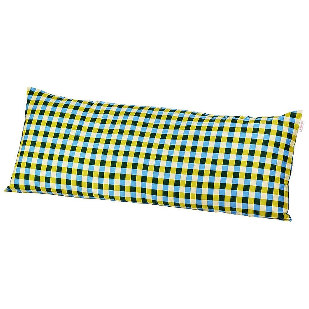 安いです透明にそばに枕カバー 60×150cmの枕用 チェック綿100% ファスナー式 パイピング仕上げ 日本製 枕 綿 ブルー