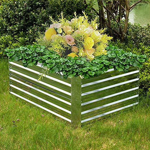 HENGMEI Hochbeet verzinkt Stahl Kräuterbeet Gartenbeet Rechteckig 120x60x60 cm für Balkon und Garten, Silber