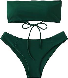 bbab67123f SweatyRocks Women s Bathing Suit Lace Up Bandeau Bikini Set Two Piece  Swimsuit