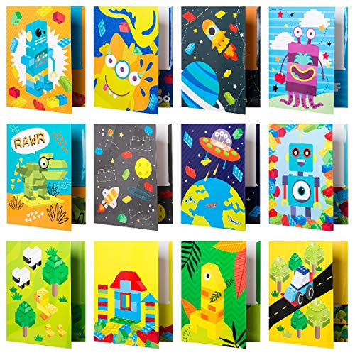 Kids Pocket Folders - 12 Homework Folders in Futuristic Robots, Spaceships and Blocks Themes - Kids Folders with Pockets -12 Unique Designs in Front and Back Cover- 2 x 9.25 inch (12 Pack)