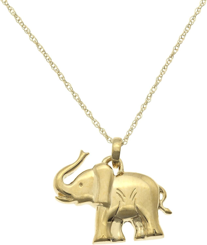 JewelExclusive 10K Yellow Gold Elephant Pendant 18