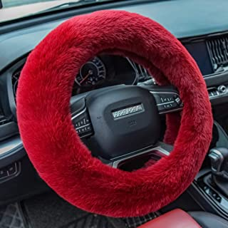 Valleycomfy Fluffy Steering Wheel Cover for Women Fuzzy Steering Wheel Cover Winter Warm Plush Car Wheel Cover Universal F...