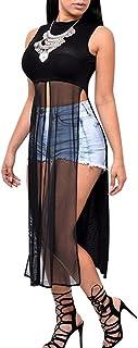 Aro Lora Women's Sexy Mesh Slit Bodycon Bandage Party Midi Club Dress