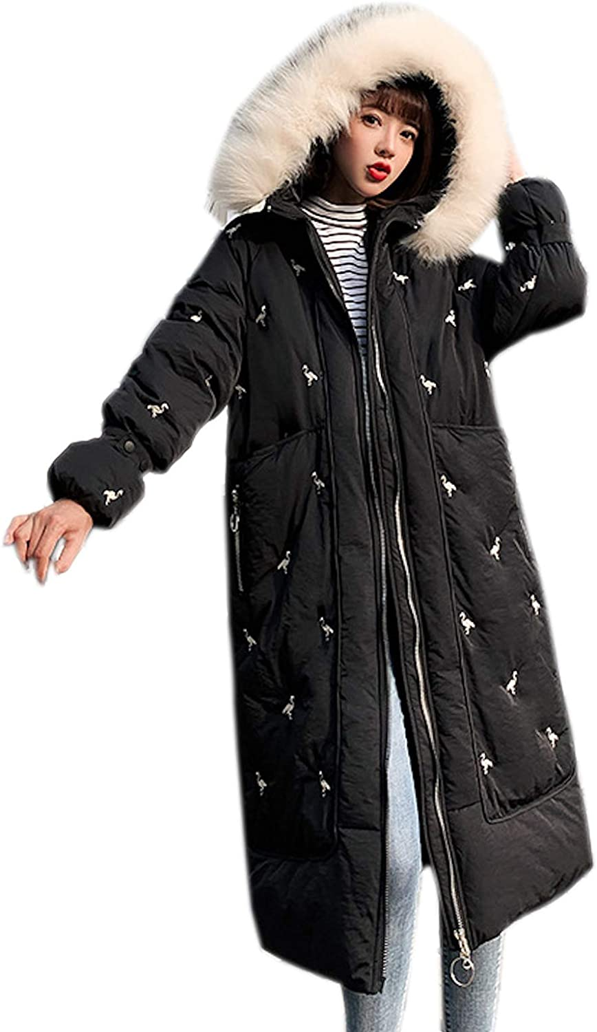 Elonglin Women Long Quilted Jacket Parka with Fur Hood Cotton Padded Puffer Coat