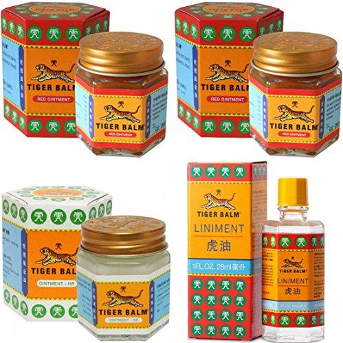 Tiger Balm Liniment (Liquid) 28ml + 2 Jars of Tiger Balm Red Ointment 30g/Jar + Tiger Balm White Ointment 30g/Jar