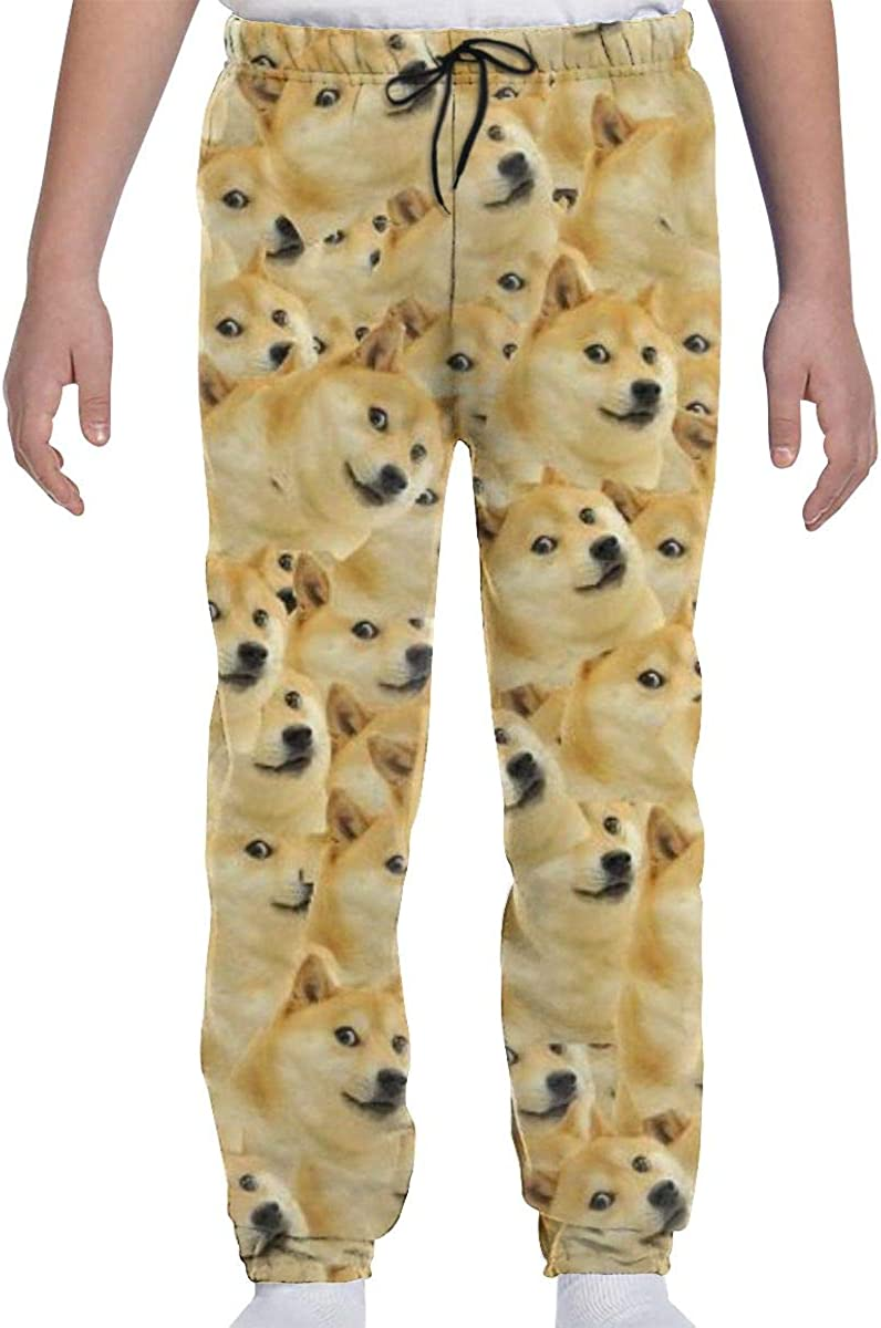 JASMODER Funny Dog Face Youth Sweatpants Joggers Pants Casual Sports Trousers with Pockets for Boys and Girls
