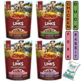 Pet Faves (4 Pack) Zuke Lil' Links Dog Training Treats Variety Pack (6oz Each) - Chicken, Duck, Pork, Rabbit 10ct Pet Wipes