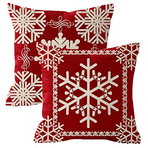 NIDITW Set of 2 Sister Birthday Gift Joy Peace Noel Beautiful Snowflakes Body Red Cotton Burlap Linen Throw Pillow Case Cushion Cover Sofa Outdoor Decorative Square 18X18 Inches