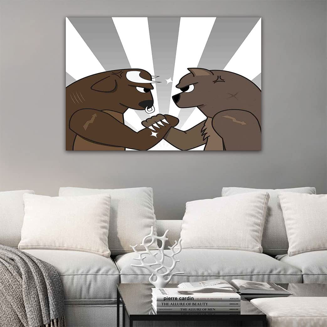 Cartoon Canvas Painting Bull Bear Bac Striped Fight All items free shipping Preparing Charlotte Mall to