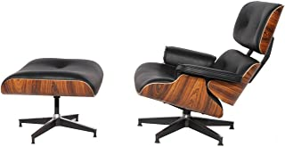 Mid Century Plywood Lounge Chair & Ottoman Eames Style Replica Real Premium Aniline Leather (Black Palisander)