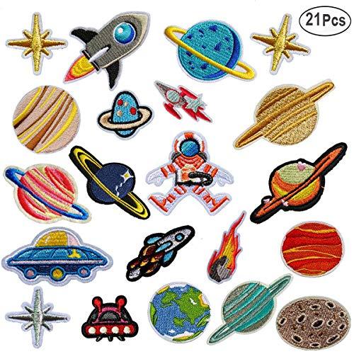 MWOOT Patch Sticker,21 Pz Parche Termoadhesivo, Sistema solar Astronauta Espacio Planetas Parche de Hierro en Parches para Ropa, Mochila, Gorras, Repara El Palo de Agujero