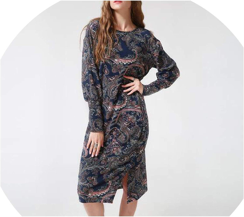 I'll NEVER BE HER 2018 Women Casual Cashew Flowers Print Dress ONeck Sexy High Split Side Button Female Dress