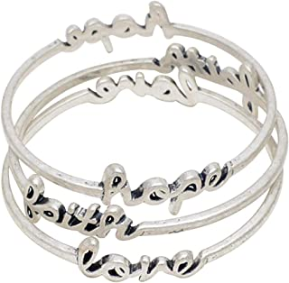 AYCJOY Jewelry العتيقة الفضة مطلي الايمان الأمل الحب سوار الكبار ثلاثة تويست الإسورة للنساء الفتيات
