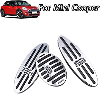 aluminium alloy Pedal Covers,No Drilling Accelerator Pedals Brake Foot Pedal Pads with Rubber Pull Tabs 3 pieces/set(Union Jack Gray) for MINI Countryman,Clubman, Roadster,Hatch,Paceman, 2010-2018
