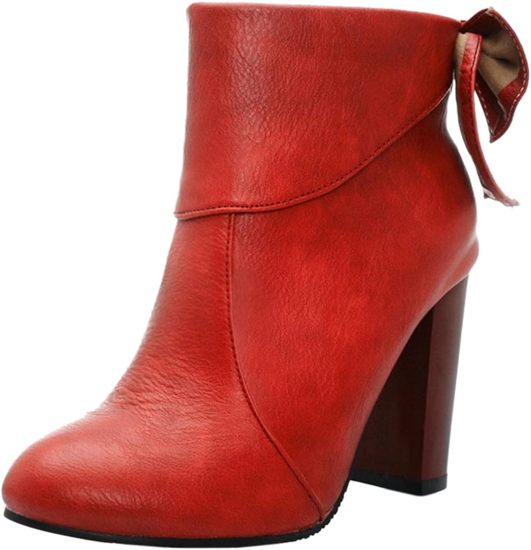 TAOFFEN Women Fashion Block Heel Dress Boots Zipper Bootie with Sweet Bow
