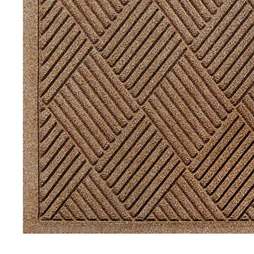 WaterHog Fashion Diamond-Pattern Commercial Grade Entrance Mat, Indoor/Outdoor Medium Brown Floor Mat 3' Length x 2' Width, Medium Brown by M+A Matting