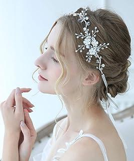 FXmimior - Accessorio per capelli fatto a mano, con perline e cristalli, stile classico, vintage, decorazione per capelli,...