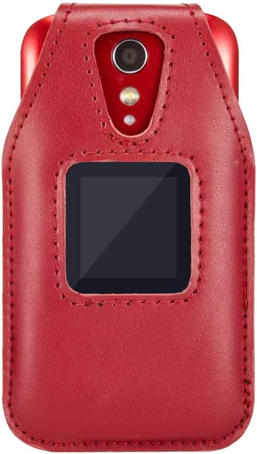Fitted Leather Case for GreatCall Lively Flip (Model: 4053S), Jitterbug Flip2, Features: Rotating Belt Clip, Screen & Keypad Protection, Secure Fit - Red