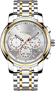 AESOP ファッションウォッチ メンズ クォーツ腕時計 ステンレススチールストラップ メンズ時計 防水 (ゴールド)