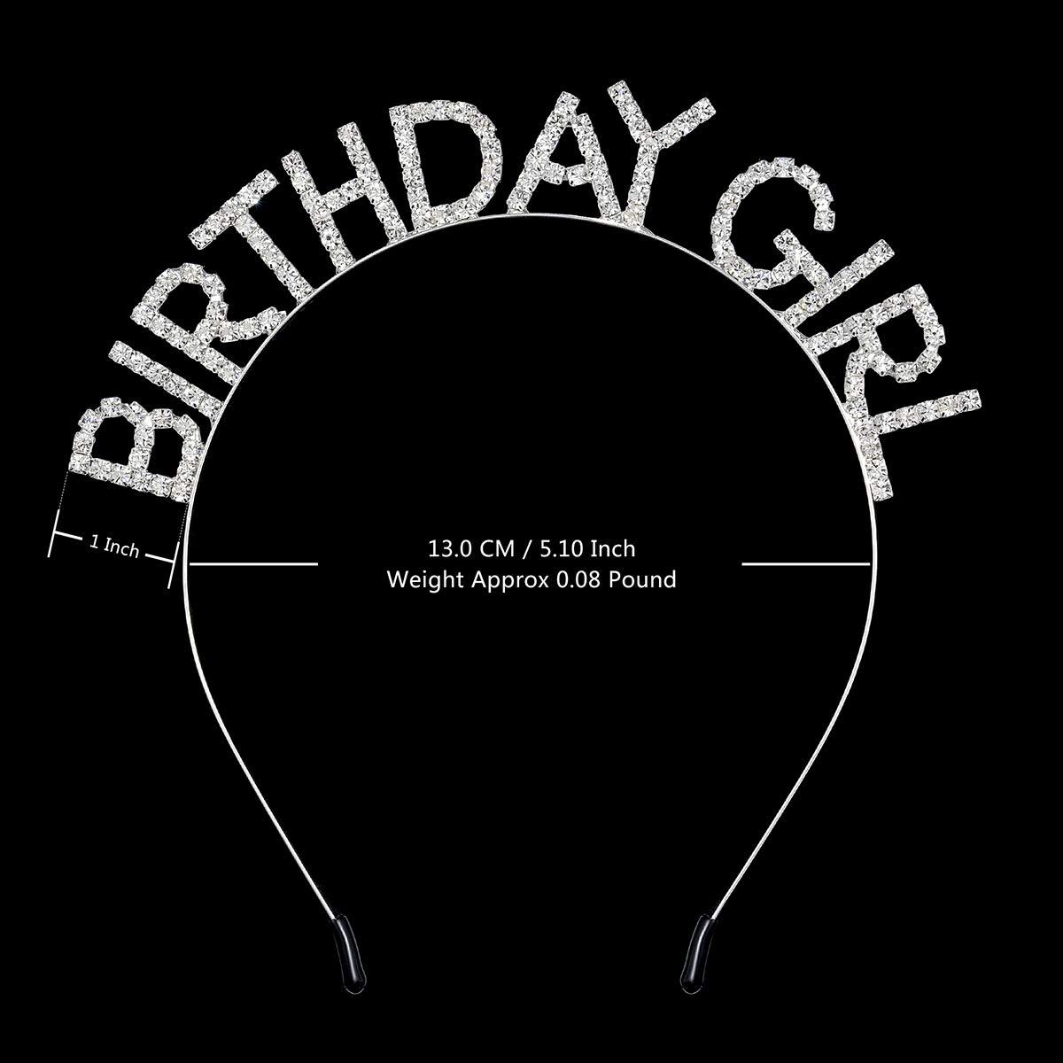 DcZeRong Girls Birthday Headbands Rhinestone Crystal Diamond Princess Birthday Hair Band Hair Hoop