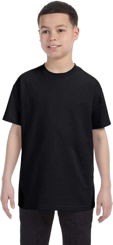 Hanes Big Boy's Lay Flat Collar Tagless T-Shirt, Black, Large