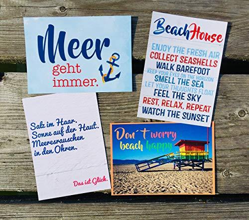 Meer geht immer! Beach House! Don´t worry beach happy! Salz im Haar. Postkarten Set 4 Stück AnneSvea postcard Urlaubsgrüße Camper Bus Wohnmobil Wohnwagen Van Deko Adventskalender Befüllung