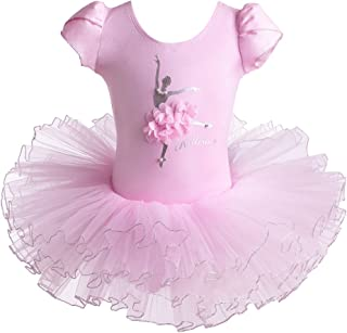 BAOHULU Leotard Girls Ballet Dance Short Sleeve Full TulleTutu Skirted Dress Ballerina Costumes