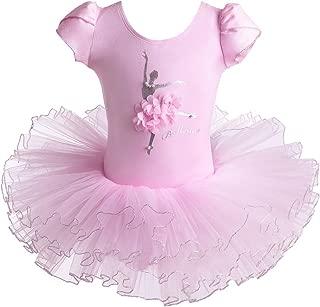 BAOHULU Leotard for Girls Ballet Dance Short Sleeve Full Tulle Tutu Skirted Dress Ballerina Costumes