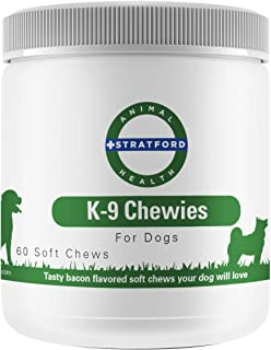 Stratford Pharmaceuticals Glucosamine for Dogs, Best Tasting K9 Chewies, The Advanced Hip and Joint Supplement for Dogs with Glucosamine Chondroitin for Dogs, MSM and Turmeric