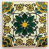 Carrelage en céramique mexicaine - 10,5 cm - fait à la main et éthiquement...