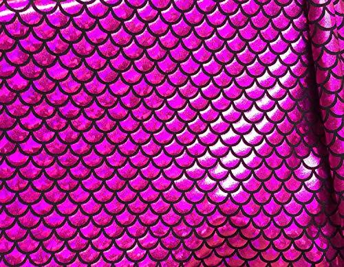 Tissu jersey écailles de sirène en aluminium élasthanne Lycra extensible dans les deux sens – 150 cm de large – 7 couleurs (vendu au mètre) (rose et noir)