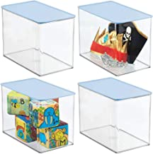 mDesign Stackable Closet Plastic Storage Bin Box with Lid - Container for Organizing Child's/Kids Toys, Action Figures, Cr...