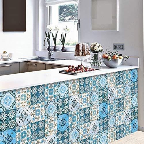 BLOUR 10 Stück/Set Blue Floral Ornament Arabesque Wandaufkleber Für Küche Badezimmer Keramik Wandtattoo Fliesen Bodendekor Wasserdicht