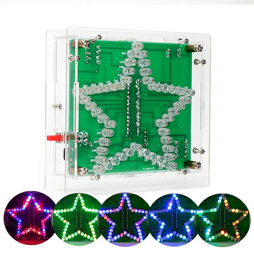 IS Icstation DIY Electronic Assemble Soldering Kit Star Shaped Colorful Flashing LED Rainbow Lights with Clear Case Season Decoration Creative Gift ack31717205