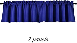 DONREN Royal Blue Valances for Bedroom - Small Window Rod Pocket Curtain Valances(42 by 15 Inch,2 Panels)