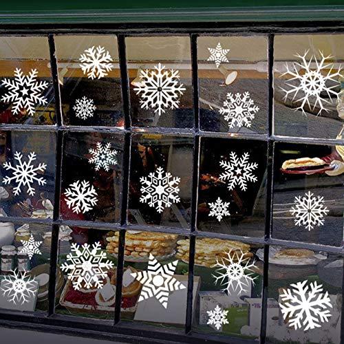 Schneeflocke Fensteraufkleber, Weihnachtsdeko Fenster, Schneeflocken Fenster,Weihnachts-Fenster Dekoration, Aufklebe Weihnachtsmann, Fensterbilder, Deko Weihnachten,PVC Fensterdeko Selbstklebend