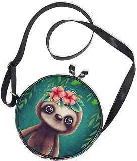 Ahomy Damen-Umhängetasche, rund, süßes Faultier mit Blättern und Kreisen