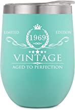 1969 50th Birthday Gifts for Women Men Tumbler - Funny 50th Anniversary Gifts Idea, Birthday Decorations for Her/Him, Mom, Dad, Husband, Wife -Vintage 12oz Double Wall Vacuum Wine Cup w Lid