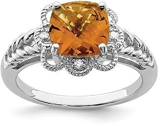 925 Sterling Silver Checker Cut Whiskey Quartz Diamond Band Ring Gemstone Fine Jewelry For Women Gift Set