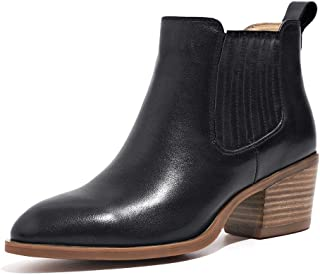 Chelsea Boots Women Leather High Heel Ankle Shoes