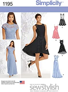 Simplicity 1195 Women's Evening, Special Occasion, and Cocktail Dress Sewing Pattern, Sizes 4-12