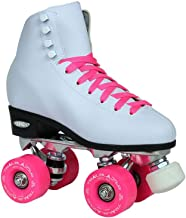 Epic Skates Epic Classic Women's High-Top Quad Roller Skates White with Pink Wheels
