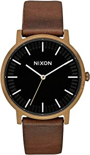Nixon Porter Leather Watch One Size Brass/Black/Brown