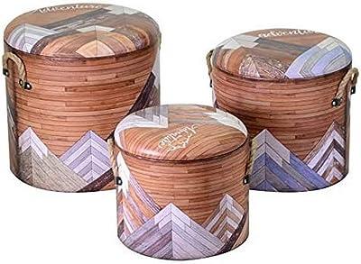 Vacchetti 3813370000 Puff, Bois, Multicolore, Moyenne, 3 unités