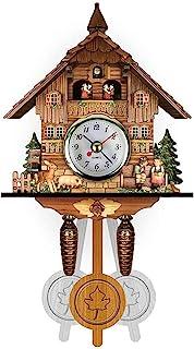 Cuckoo Wall Clock, Cuckoo Wall Clock Chime Alarm Clock, Deer/Maple Leaf/Little Bird Traditional Chalet Handcrafted Quartz ...